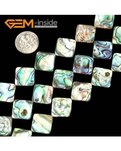 "G2033 14mm(diagonal) Square Natural Abalone Shell Gemstone Jewelery Making Loose beads Strand 15"" Natural Stone Beads for Jewelry Making Wholesale"