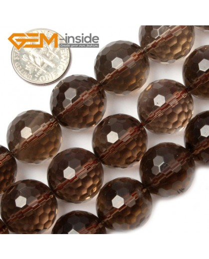 "G2043 16mm Faceted Natural Smoky Quartz Round Loose Beads Strands 15"" Jewelry Making 4-18mm Natural Stone Beads for Jewelry Making Wholesale`"