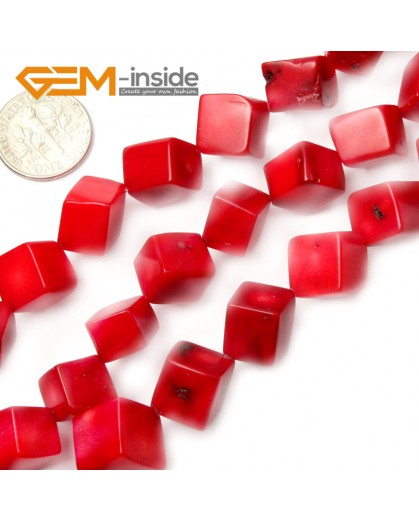 "G2116 10mm Square Cubic Red Coral Beads 15""Jewelery Making Gemstone Loose Beads 7-16mm Pick Natural Stone Beads for Jewelry Making Wholesale"