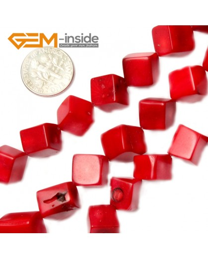 "G2117 9mm Square Cubic Red Coral Beads 15""Jewelery Making Gemstone Loose Beads 7-16mm Pick Natural Stone Beads for Jewelry Making Wholesale"