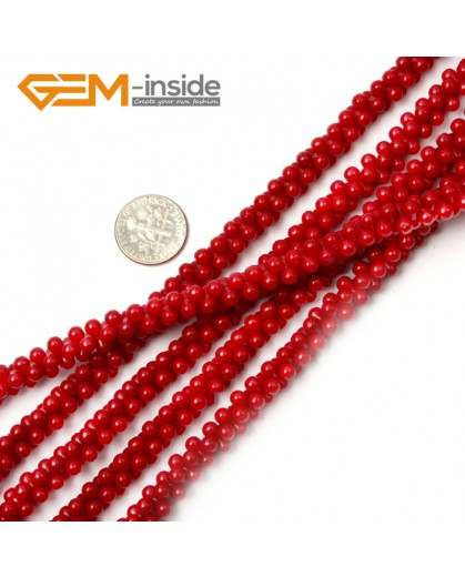 """G2141 4x8mm Red Gemstone Coral Jewelry Making Spacer Stone Loose Beads Strand 15""""  Natural Stone Beads for Jewelry Making Wholesale"""