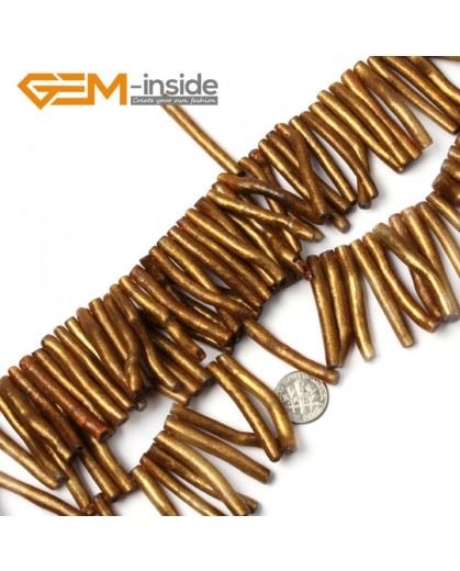 "G2197 5x30mmGold Branch Black/Gold Coral Gemstone Loose Beads Strand 15""Jewelery Making Beads Natural Stone Beads for Jewelry Making Wholesale`"