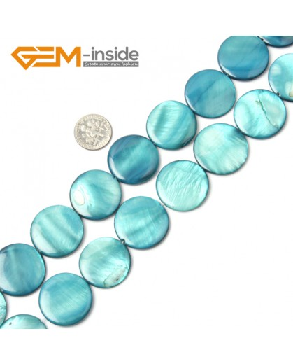 "G2310 blue/25mm Coin Gemstone Sea Shell Jewelery Making Loose Beads Strand 15"" Pick Colors &Size Natural Stone Beads for Jewelry Making Wholesale"
