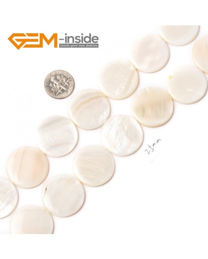 "G2313 white/25mm Coin Gemstone Sea Shell Jewelery Making Loose Beads Strand 15"" Pick Colors &Size Natural Stone Beads for Jewelry Making Wholesale"