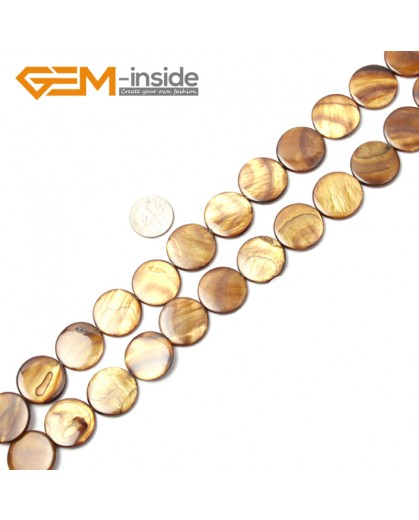 "G2323 brown/20mm Coin Gemstone Sea Shell Jewelery Making Loose Beads Strand 15"" Pick Colors &Size Natural Stone Beads for Jewelry Making Wholesale"