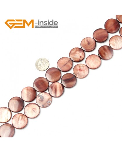 """G2325 dark brown/20mm Coin Gemstone Sea Shell Jewelery Making Loose Beads Strand 15"""" Pick Colors &Size Natural Stone Beads for Jewelry Making Wholesale"""