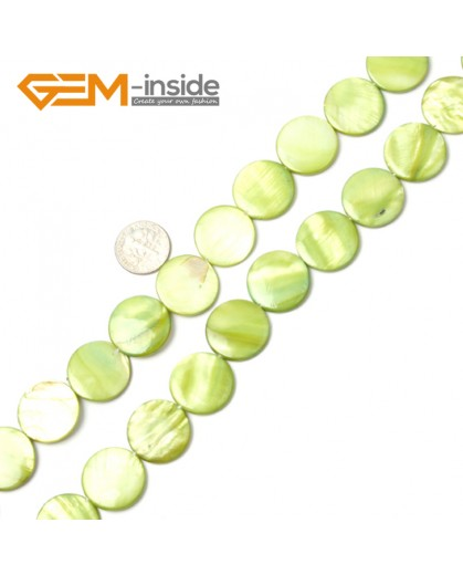 "G2330 light green/20mm Coin Gemstone Sea Shell Jewelery Making Loose Beads Strand 15"" Pick Colors &Size Natural Stone Beads for Jewelry Making Wholesale"