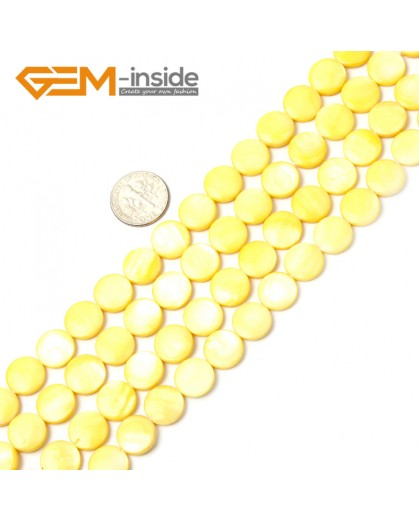 """G2333 yellow/11mm Coin Gemstone Sea Shell Jewelery Making Loose Beads Strand 15"""" Pick Colors &Size Natural Stone Beads for Jewelry Making Wholesale"""
