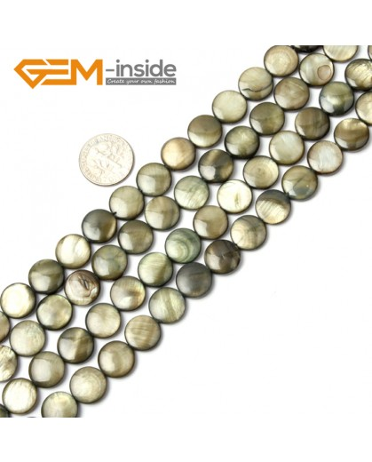 "G2335 dark green/11mm Coin Gemstone Sea Shell Jewelery Making Loose Beads Strand 15"" Pick Colors &Size Natural Stone Beads for Jewelry Making Wholesale"