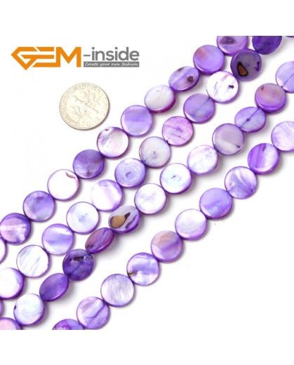 """G2337 purple/11mm Coin Gemstone Sea Shell Jewelery Making Loose Beads Strand 15"""" Pick Colors &Size Natural Stone Beads for Jewelry Making Wholesale"""