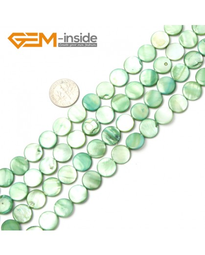 "G2339 green/11mm Coin Gemstone Sea Shell Jewelery Making Loose Beads Strand 15"" Pick Colors &Size Natural Stone Beads for Jewelry Making Wholesale"