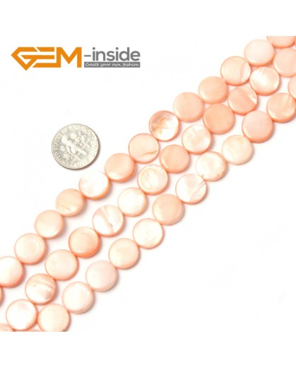 """G2345 pink/11mm Coin Gemstone Sea Shell Jewelery Making Loose Beads Strand 15"""" Pick Colors &Size Natural Stone Beads for Jewelry Making Wholesale"""