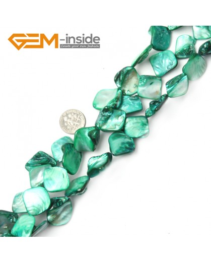 "G2395 Green Free Shipping Freeform Sea Shell Loose Beads strand 15""Jewelery Making 15x20mm Natural Stone Beads for Jewelry Making Wholesale"