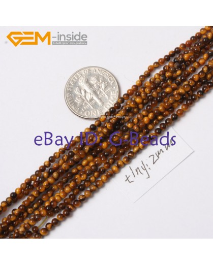 "G2407 2mm Natural Yellow Tiger Eye Stone Round Gemstone Tiny Jewelry Making Loose Spacer Beads Strand 15"" Natural Stone Beads for Jewelry Making Wholesale"