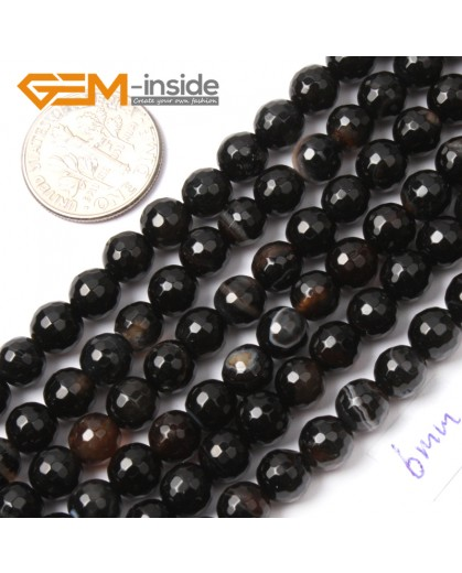 """G2554 6mm Round Faceted Gemstone Banded Onyx Agate Stone Loose Beads Jewelry Making 15"""" Natural Stone Beads for Jewelry Making Wholesale`"""