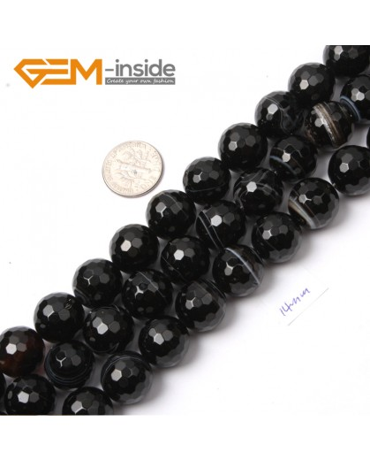 """G2558 14mm Round Faceted Gemstone Banded Onyx Agate Stone Loose Beads Jewelry Making 15"""" Natural Stone Beads for Jewelry Making Wholesale`"""