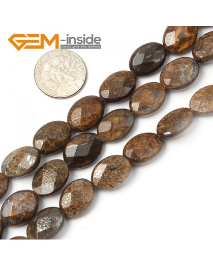 "G2625 10x14mm Oval Faceted Bronzite Gemstone Loose Beads Strand 15"" Jewelery Making Beads Natural Stone Beads for Jewelry Making Wholesale"