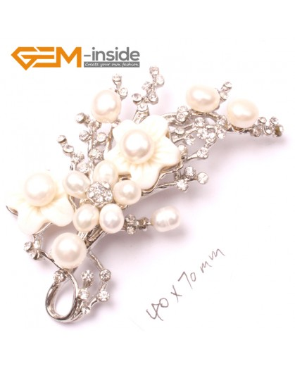 G2807 white nice pearl white gold plated flower brooch pin 40x70mm Brooch Pin Fashion Jewelry Jewellery