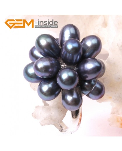 G2853 black 5-6mm nice pearl white gold plated ring adjustable size Rings Fashion Jewelry Jewellery