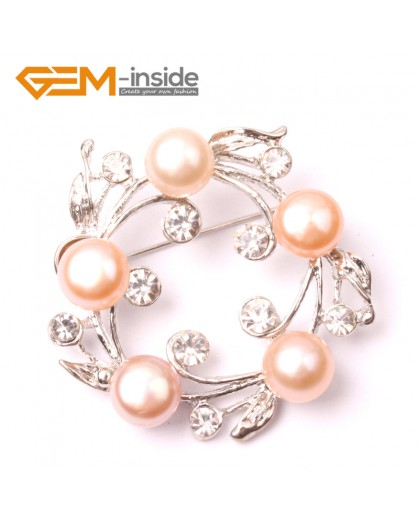 G2864 pink freshwater pearl white gold plated anade brooch 40mm  Brooch Pin Fashion Jewelry Jewellery