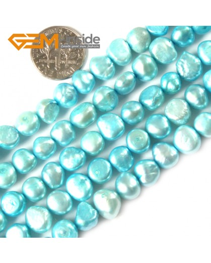 """G3092 light cyan 7-8mm Freeform Cultured Pearl Gemstone Loose Beads Strand 15"""" Natural Stone Beads for Jewelry Making Wholesale"""