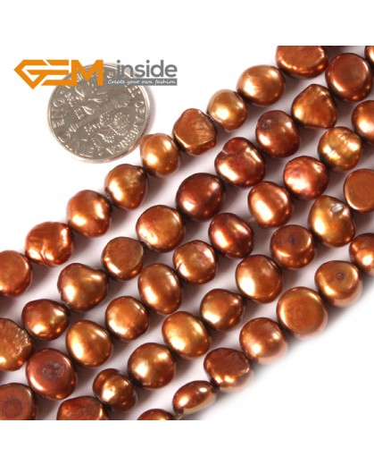 "G3097 saddle brown 7-8mm Freeform Cultured Pearl Gemstone Loose Beads Strand 15"" Natural Stone Beads for Jewelry Making Wholesale"