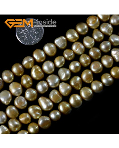 "G3101 golden yellow 7-8mm Freeform Cultured Pearl Gemstone Loose Beads Strand 15"" Natural Stone Beads for Jewelry Making Wholesale"