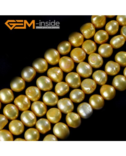 "G3103 yellow  7-8mm Freeform Cultured Pearl Gemstone Loose Beads Strand 15"" Natural Stone Beads for Jewelry Making Wholesale"
