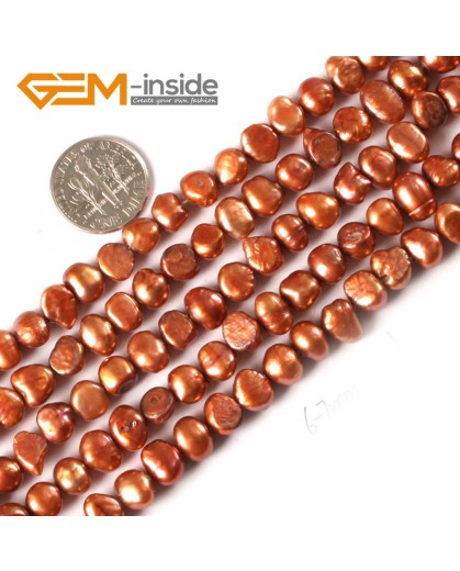 "G3109 brown 6-7mm Freeform Cultured Pearl Beads Jewelry Making Gemstone Loose Beads15""Gbeads Natural Stone Beads for Jewelry Making Wholesale"