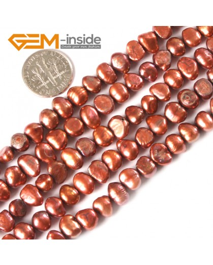 """G3116 Brown 6-7mm Freeform Cultured Pearl Beads Jewelry Making Gemstone Loose Beads15""""Gbeads Natural Stone Beads for Jewelry Making Wholesale"""