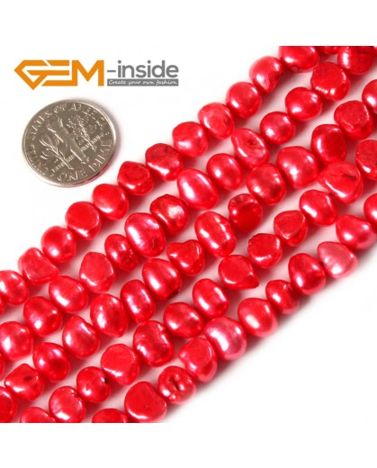 "G3118 red 6-7mm Freeform Cultured Pearl Beads Jewelry Making Gemstone Loose Beads15""Gbeads Natural Stone Beads for Jewelry Making Wholesale"
