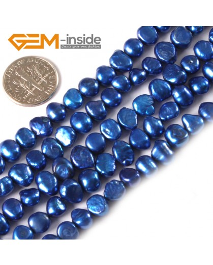 "G3120 dark blue 6-7mm Freeform Cultured Pearl Beads Jewelry Making Gemstone Loose Beads15""Gbeads Natural Stone Beads for Jewelry Making Wholesale"