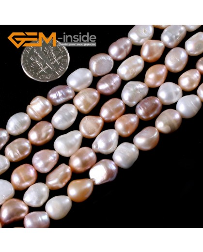 "G3135 mixed color 8-9x10-11mm Colorful Freeform Cultured Pearl Gemstone Loose Beads Strand 15"" Natural Stone Beads for Jewelry Making Wholesale"