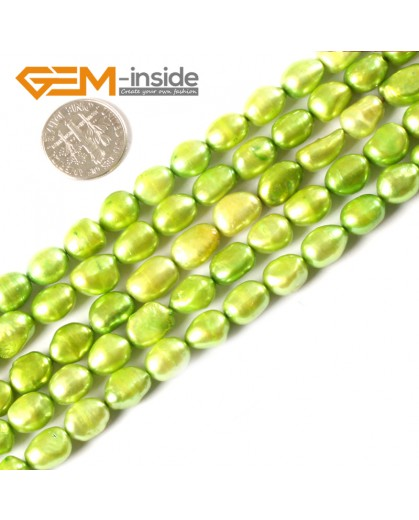 """G3144 green yellow 8-9x10-11mm Colorful Freeform Cultured Pearl Gemstone Loose Beads Strand 15"""" Natural Stone Beads for Jewelry Making Wholesale"""