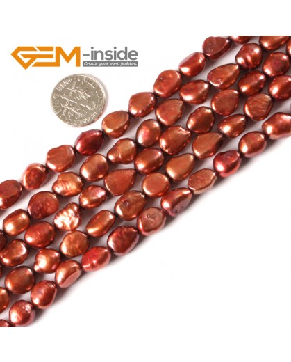 "G3145 Brown 8-9x10-11mm Colorful Freeform Cultured Pearl Gemstone Loose Beads Strand 15"" Natural Stone Beads for Jewelry Making Wholesale"