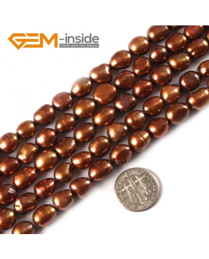 "G3147 saddle brown 8-9x10-11mm Colorful Freeform Cultured Pearl Gemstone Loose Beads Strand 15"" Natural Stone Beads for Jewelry Making Wholesale"