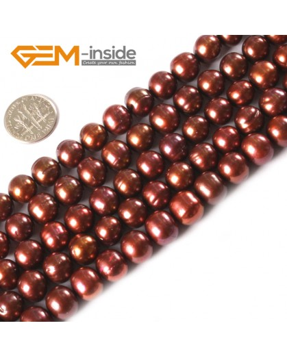 """G3152 Brown 10-11mm Round Gemstone Freshwater Pearl Jewelry Making Necklace Beads Strand 15"""" Natural Stone Beads for Jewelry Making Wholesale"""