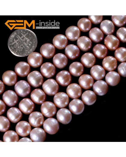 "G3153 Purple 10-11mm Round Gemstone Freshwater Pearl Jewelry Making Necklace Beads Strand 15"" Natural Stone Beads for Jewelry Making Wholesale"