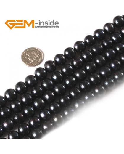 "G3156 Black 10-11mm Round Gemstone Freshwater Pearl Jewelry Making Necklace Beads Strand 15"" Natural Stone Beads for Jewelry Making Wholesale"