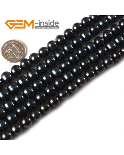 "G3163 black 8-9mm Round Freshwater Pearl Beads Jewelry Making Gemstone Loose Beads 15""Natural Stone Beads for Jewelry Making Wholesale"