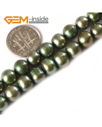 """G3167 green 8-9mm Round Freshwater Pearl Beads Jewelry Making Gemstone Loose Beads 15""""Natural Stone Beads for Jewelry Making Wholesale"""