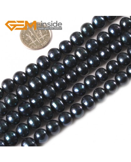 "G3171 BLACK 7-8mm Near Round Colorful Freshwater Pearl Gemstone Loose Beads Strand 15"" Natural Stone Beads for Jewelry Making Wholesale"