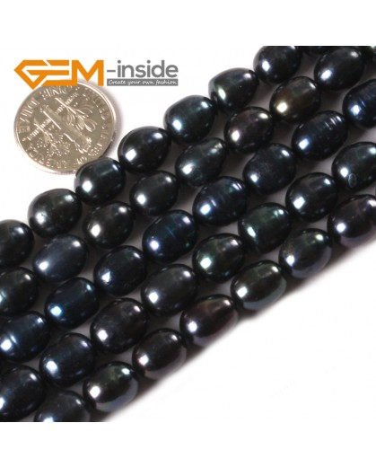 "G3241 Black 8-9x9-10mm Egg Shape Black Cultured Pearl Jewelry Making Necklace Beads 15"" Natural Stone Beads for Jewelry Making Wholesale"