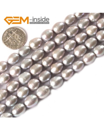 "G3242 Silver Gray 8-9x9-10mm Egg Shape Black Cultured Pearl Jewelry Making Necklace Beads 15"" Natural Stone Beads for Jewelry Making Wholesale"