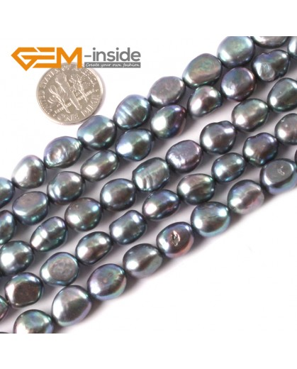 """G3263 black 9-10mm Freeform Freshwater Pearl Gemstone Beads Jewelery Making Loose Beads15"""" Natural Stone Beads for Jewelry Making Wholesale"""