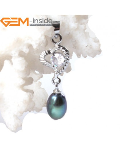G3304 6-7mm Blue Black Freshwater Pearl Dangle White Gold Plated Pendants for Necklace Fashion Jewelry Jewellery 1 Pcs