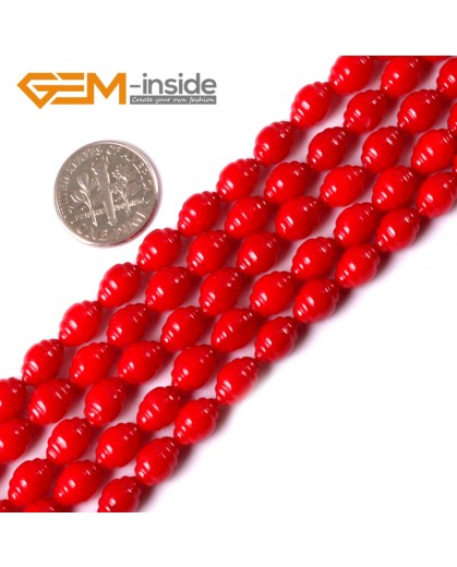 "G3406 6x8mm Olivary Red Coral Beads Jewelery Making Gemstone Loose Beads15"" Natural Stone Beads for Jewelry Making Wholesale"