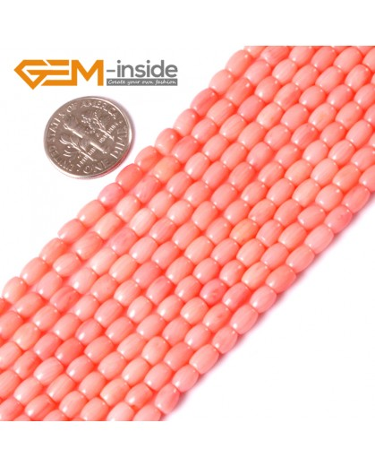 "G3433 PINK 3x5mm column olivary gemstone coral  loose beads strand 15""jewelery making beads Natural Stone Beads for Jewelry Making Wholesale"
