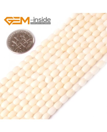 "G3435 WHITE 3x5mm column olivary gemstone coral  loose beads strand 15""jewelery making beads Natural Stone Beads for Jewelry Making Wholesale"