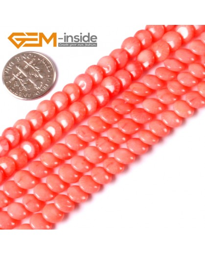 """G3440 Pink 7mm Gemstone Coin Coral Beads Jewelry Making Stone Loose Beads Strand 15"""" Gbeads Natural Stone Beads for Jewelry Making Wholesale"""